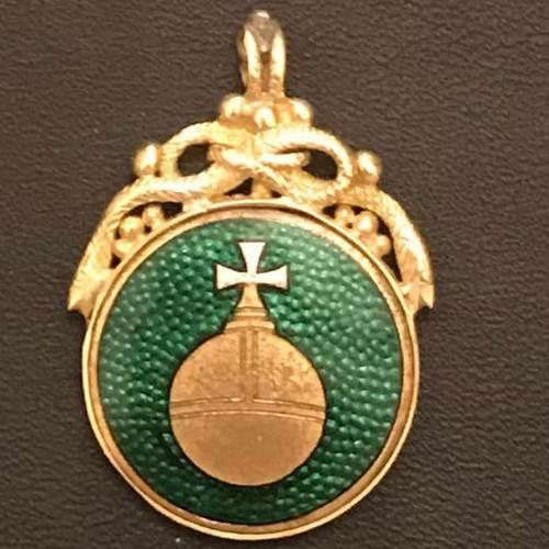 Кулон с зеленой эмалью